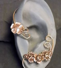 Swirl and Flower  Ear Wrap  GOLDEN GARLAND  by SunnySkiesStudio, $38.95