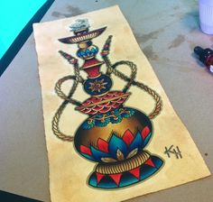 Hookah tattoo design by Krystal Hulett, the dead presidents lounge, Albany ny