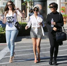A family affair: Khloe and Kourtney Kardashian went for frozen yoghurt with Kris Jenner in Calabasas on Tuesday