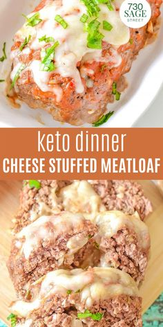This keto dinner meatloaf is stuffed with delicious cheese for the perfect keto comfort food. Replace breadcrumbs with pork rinds for classic meatloaf flavor.#easyrecipes #onthetable #dinner #meatloafrecipes Best Keto Meals, Best Low Carb Recipes, Low Carb Chicken Recipes, Low Carb Dinner Recipes, Delicious Dinner Recipes, Keto Dinner, Beef Recipes, Low Carb Meatloaf, Meatloaf Recipes