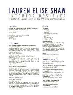 Free Interior Design Resume Templates | INTERIOR DESIGN SAMPLE ...