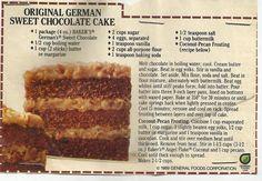 Vintage Baker's German's Sweet Chocolate Cake Recipe