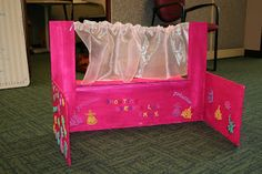 This was an easy, but time consuming, craft to do - A table top puppet theatre! Crafts To Do, Puppets, Toddler Bed, Puppet Theatre, Crafty, Knitting, Toys, Scissors, Stage