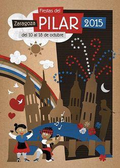 Cartel alternativo Pilar 2015: Titulo: Trocicos del Pilar. Autor: Marcos Juez