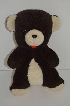 "Gerber Atlanta Novelty Teddy Bear Plush Dark Brown Red Tongue 15"" #Gerber"