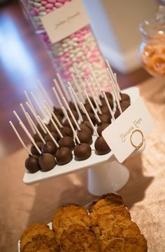 Dessert Bar Inspiration: Delicious chocolate and banana cake pops for wedding dessert #sweets #cake #pops #chocolate   Photo by: Holly Gardner Photography on Every Last Detail