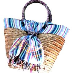 Handmade Straw Baskets, multi color design, incl shipping