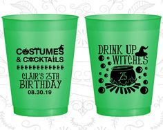 25th Birthday Frosted Cups, Drink up witches, Halloween Birthday, Frosted Birthday Cups (20295)