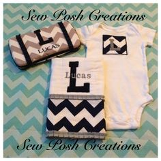 Personalized baby gift set - Navy and Gray Chevron Onsie, burp cloth and travel diaper wipe case on Etsy, $38.00 Diaper Wipe Case, Baby Wipe Case, Wipes Case, Baby Shower Gifts To Make, Baby Shower Items, Baby Shower Parties, Burp Rags, Burp Cloths, Gray Chevron