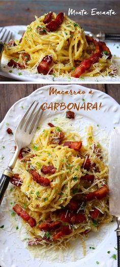 Macarrão à Carbonara Macarrão à Carbonara é uma prato rapidinho de fazer e para lá de gostoso. Basta dourar pancetta ou bacon, bater ovos com um bom queijo pecorino ou …