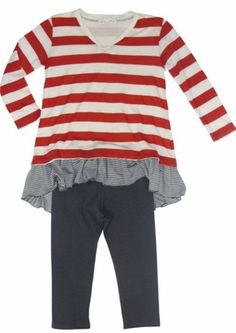 "Luna Luna ""Addison"" Flag Red Adorable 2 pc Lounge Set Sizes 2T - 14 - click to enlarge"