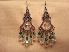 Chandelier Earrings of Green and Crystal Glass by SpringHammock