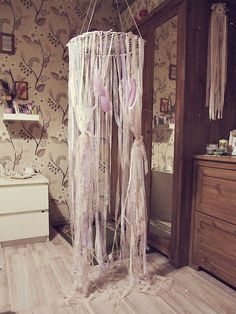 Bohemian Bedroom Canopy shabby nursery canopy for girls - lace bed crown - baby crib