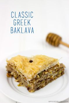 This {Classic Greek Baklava} features layers of flaky dough filled with ground nuts and honey!