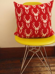 Scottish Stag Head Knitted Cushion Red and White £85.00