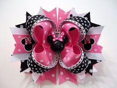 "MINNIE MOUSE Pink Handmade Boutique Stacked Hair Bow Pink/Black/White 5"" x 4.5"" #JOYJOEYKANGAROO"
