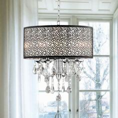 Add classic elegance to your foyer or dining room with this crystal, metal bubble shade chandelier. This light is stunning. With its crystal accents and an antique bronze shade, this chandelier will fit into a vintage or modern decor. Round Crystal Chandelier, Hanging Chandelier, Bronze Chandelier, Chandelier Shades, Chandelier Lighting, Clear Crystal, Chandelier Crystals, Chandelier Ideas, Hanging Crystals