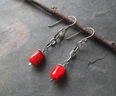 Sterling Silver, Coral, Fine Silver, Sterling Silver Chain, Artisan Jewlery, Artisan Earrings, Sundance. $30.00, via Etsy.