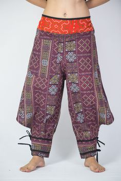 Clovers Thai Hill Tribe Fabric Women Harem Pants with Ankle Straps in