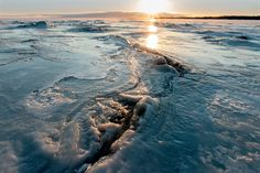 Ice hummok at Whtie Sea. Pon'goma viilage, Karelia, Russia
