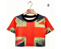 Women's Stars Print Short Sleeve Summer Crop Top #CropTop #StarsTShirt