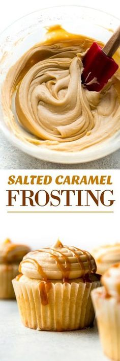 5 ingredients and so easy! This creamy salted caramel frosting is downright addicting! Recipe on sallysbakingaddiction.com