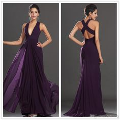 Free Shipping 2012 Sexy Deep V Neck Long Chiffon Bridesmaid Dresses Dark Purple Backless A-Line Flowy Wedding Party Prom Dresses Sexy YAA