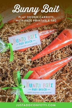 "These ""Bunny Bait"" play dough carrots with free printable tag are the perfect little gift to make and give this Easter season! #freeprintable #bunnybait #easter #easterforkids #JustAddConfetti #playdough"