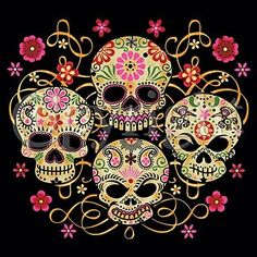 Dia de los muertos Day of the dead 4 painted skulls unisex/men size t-shirt mexican halloween sam haim all souls day sugar ritual holiday - My Sugar Skulls Sugar Skull Tattoos, Sugar Skull Art, Sugar Skulls, Sugar Tattoo, Skull Flag, Estilo Rock, Tattoo T Shirts, Tee Shirts, Candy Skulls