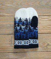from Anna Linde Double Knitting Patterns, Knitted Mittens Pattern, Knit Mittens, Knitting Charts, Knitted Gloves, Knitting Socks, Crochet Patterns, Norwegian Knitting, Knit Crochet