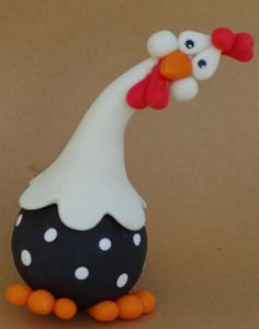 hen fimo - Projects to Try - Keramische Kunst Polymer Clay Figures, Polymer Clay Animals, Fimo Clay, Polymer Clay Projects, Polymer Clay Creations, Chicken Crafts, Chicken Art, Funny Chicken, Clay Birds