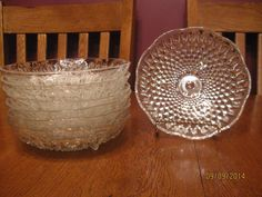 Set Of Seven (7) Vintage Hobnail Clear Glass Footed Dish Bowls ~ Anchor Hocking