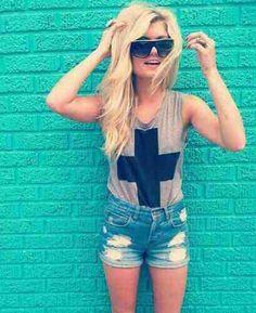 Cross Bro Tank. Tucked. Jean Shorts. Teen Fashion. By-Iheartfashion14   →follow←