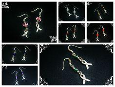 AWARENESS earrings-CANCER diseases by NightWalkerDesigns on Etsy