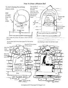 How to Draw Worksheets for The Young Artist: Printable How To Draw A Mission Bel. - How to Draw Worksheets for The Young Artist: Printable How To Draw A Mission Bell Drawing Worksheet - Drawing Lessons, Drawing Techniques, Art Lessons, Mission Bell, Free Printable Art, Art Worksheets, Landscape Drawings, Urban Sketching, Art Tutorials
