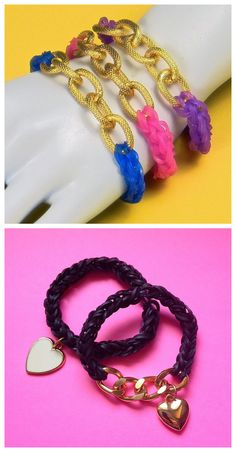 Chic Loom Bracelet: A chic alternative a plain loom bracelet. You can either leave it plain with a chain or add a charm. Rainbow Loom Tutorials, Rainbow Loom Bracelets, Craft Stores, Diy Fashion, Jewerly, Arts And Crafts, Chain, Projects, Ideas
