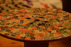 Cable spool table with old stamps