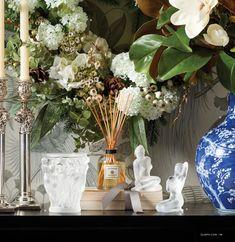 Gump's San Francisco Holiday 2020 Catalog - Page 18-19 Southern Christmas, White Plum, Snowball, Porcelain Vase, Hydrangea, Floral Arrangements, Art Nouveau, Wreaths, Sculpture