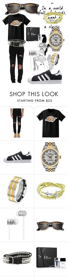 """City Walker Denim"" by bvn01 ❤ liked on Polyvore featuring AMIRI, Pusheen, adidas Originals, Rolex, West Coast Jewelry, Anchor & Crew, Beats by Dr. Dre, Ray-Ban, Dsquared2 and Christian Dior"