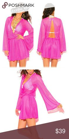 """Resortwear Inspired Mini Dress Ultra stylish neon pink mini dress is designed to be your go to dress. From island vacations to pool parties, night out, or one of those days to play in the sun! Beautiful crochet lace makes it beach perfect, or dress it up for a sexy party outfit. Flirty backless design and see through top with lined mini skirt. Elastic waistline. 95% Polyester 5% Spandex Model is 5'9"""" chest 32C, waist 25"""", hips 35"""" and wearing a size small. Dresses"""