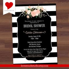 Bridal Shower Invitation  Black Stripe Floral  by LoveStruckStudio