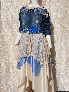 OOAK Boho Upcycled Denim 12 14 Jacket Hippy Stevie Nicks Fairy Eco Couture Lagenlook Bohemian Wearable Art *BLUE LAGOON* by AphroditesFolly on Etsy