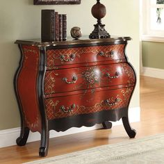 Iden Hallway Console Sofa Table Bombay Chest Cabinet Drawers Cherry Floral Paint #Bombay #Transitional