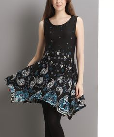Reborn Collection Black Paisley Sleeveless Notch Neck Handkerchief Tunic | zulily