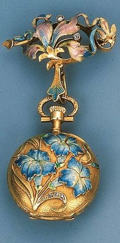 An Art Nouveau Enamel Pendant Watch With rose-cut diamond detail, the keyless watch suspended from a later guilloch enamel surmount, circa 1905, with French assay mark, 7.0 cm long