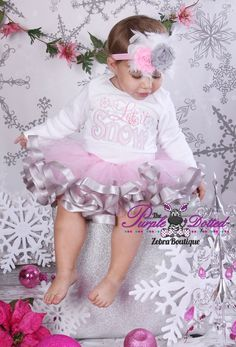 Let it Snow Outfit - Embroidered Shirt with Matching Pink and Grey Ribbon Trim Tutu (NB - 18 Months Girls) -1st Christmas Outfit- Photo Prop on Etsy, $75.00