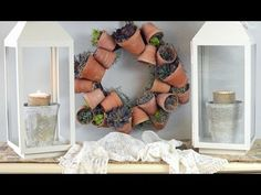 This sweet flower pot wreath is nestled in a little nook in my kitchen that doesn't get much natural light- so faux succulents are perfect h. Garden Crafts, Garden Art, Garden Design, Succulent Wreath, Succulent Pots, Terracotta Flower Pots, Faux Succulents, Dollar Store Crafts, Fun Crafts