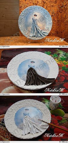 decopage on plate Diy Arts And Crafts, Clay Crafts, Paper Crafts, Paper Mache Sculpture, Sculpture Painting, Decoupage Plates, Mural Art, Cool Paintings, Teller