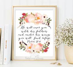 He will cover you Nursery Bible verse wall by LittleEmmasFlowers