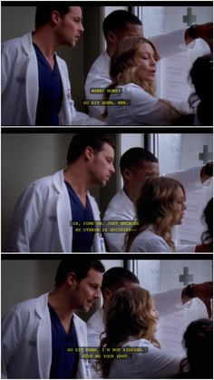 Awwww.....absolutely LOVE Alex's protectiveness over Mer!!! (Grey's Anatomy)